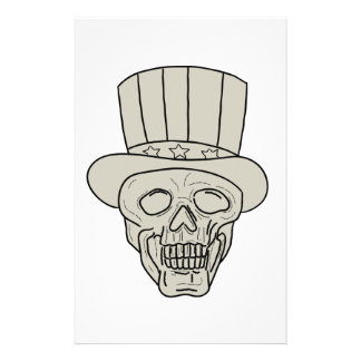 Dibujo del cráneo del sombrero de copa del tío Sam Papelería De Diseño