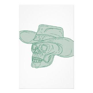 Dibujo del cráneo del vaquero papelería