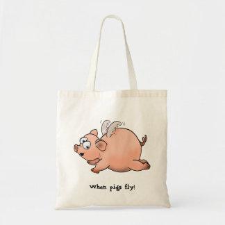 Dibujo del dibujo animado de un cerdo con volar de bolsa tela barata