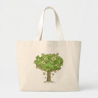 Dibujo del dibujo animado del árbol del dinero bolsa tela grande