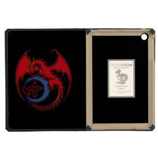 Dibujo del dragón céltico negro rojo y de la luna