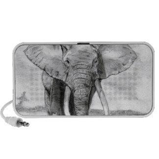 dibujo del elefante africano en diseño del lápiz portátil altavoz