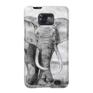 dibujo del elefante africano en diseño del lápiz galaxy s2 cobertura
