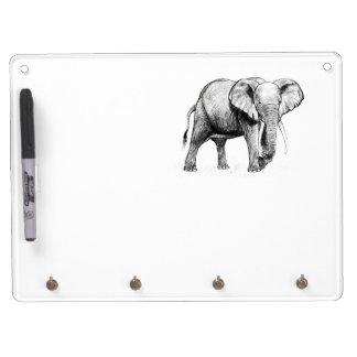 Dibujo del elefante africano pizarras blancas de calidad