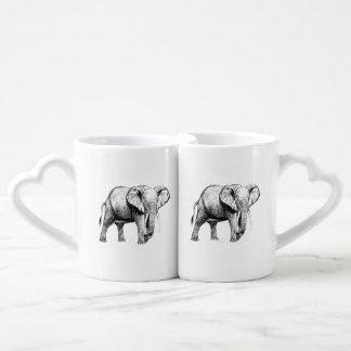 Dibujo del elefante africano set de tazas de café