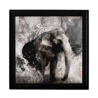 Dibujo del elefante del vintage - arte de la pintu cajas de recuerdo