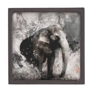 Dibujo del elefante del vintage - arte de la pintu cajas de joyas de calidad