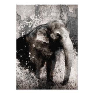 Dibujo del elefante del vintage - arte de la pintu invitación personalizada