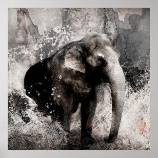 Dibujo del elefante del vintage - arte de la pintu impresiones