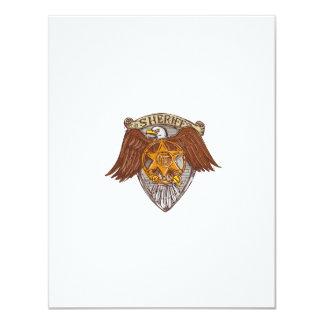 """Dibujo del escudo de American Eagle de la insignia Invitación 4.25"""" X 5.5"""""""