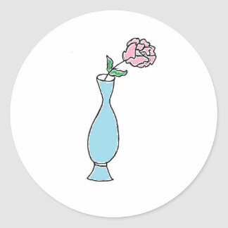 Dibujo del florero del brote de flor pegatina redonda