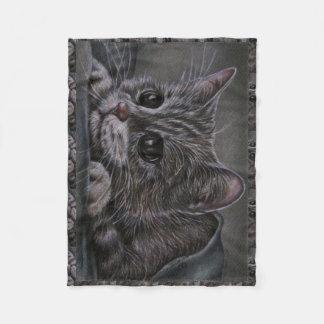 Dibujo del gatito gris en la manta manta de forro polar