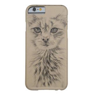 Dibujo del gato blanco en la caja del teléfono funda para iPhone 6 barely there