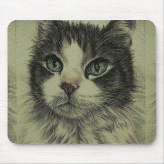 Dibujo del gato con la nariz roja en el cojín de tapete de raton