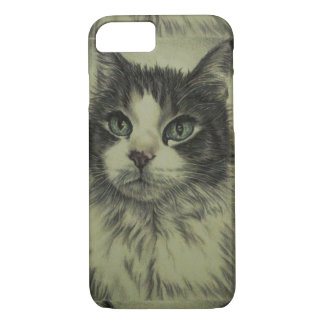 Dibujo del gato con la nariz roja en la caja del funda iPhone 7