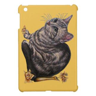 Dibujo del gato con los narcisos en el mini caso
