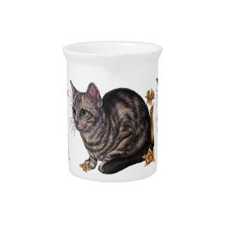 Dibujo del gato con los narcisos en la jarra de