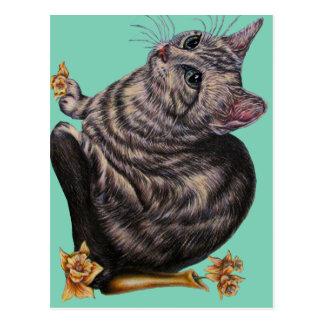 Dibujo del gato con los narcisos en la postal