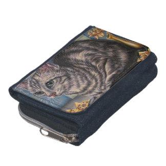 Dibujo del gato gris con los narcisos