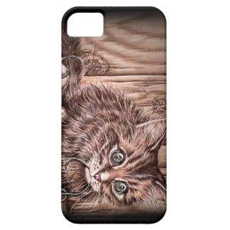 Dibujo del gato lindo del retrato del mascota del iPhone 5 carcasas