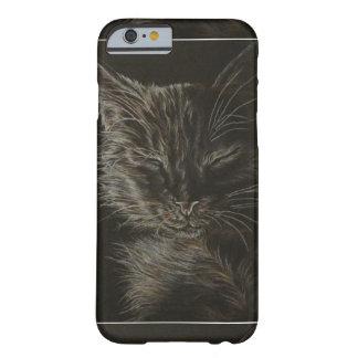Dibujo del gato soñoliento en la caja del teléfono funda para iPhone 6 barely there