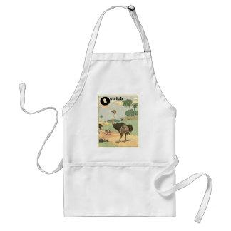 Dibujo del guión de la avestruz delantal