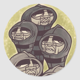 dibujo del héroe pegatina redonda