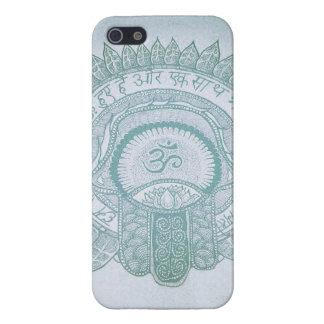 dibujo del hippie del loto del zen de OM del hamsa iPhone 5 Cárcasa