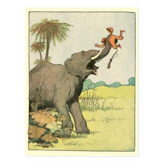 Dibujo del libro de la historia del elefante postales
