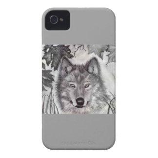 Dibujo del lobo del otoño Case-Mate iPhone 4 carcasa