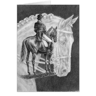 Dibujo del montaje de los caballos del Dressage po Tarjeta De Felicitación