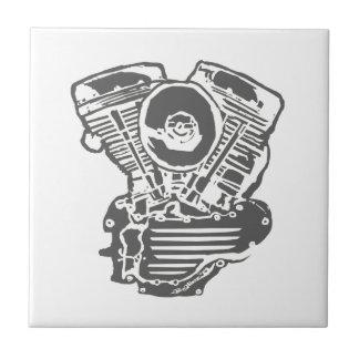 Dibujo del motor de Harley Panhead Azulejo Cuadrado Pequeño