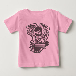 Dibujo del motor de Harley Panhead Playera De Bebé