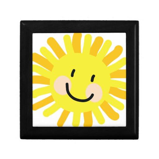 Dibujo del niño de Sun Cajas De Recuerdo