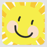 Dibujo del niño de Sun Pegatina Cuadrada