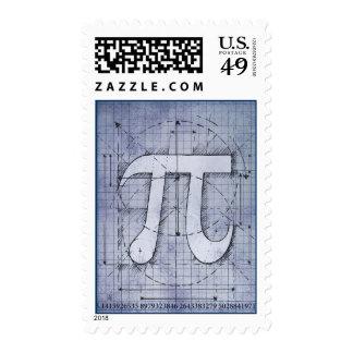 Dibujo del número del pi estampilla