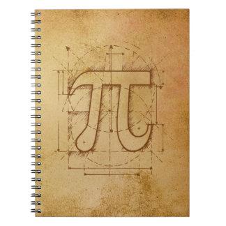 Dibujo del número del pi spiral notebooks