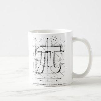 Dibujo del número del pi tazas de café