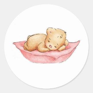 Dibujo del oso de peluche el dormir pegatina redonda