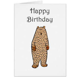 Dibujo del oso marrón, feliz cumpleaños tarjeta de felicitación