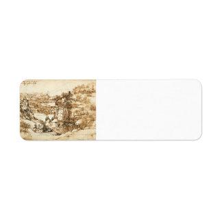 Dibujo del paisaje de Leonardo Vinci- para Santa M Etiqueta De Remite