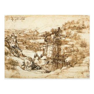 Dibujo del paisaje de Leonardo Vinci- para Santa M Tarjeta Postal