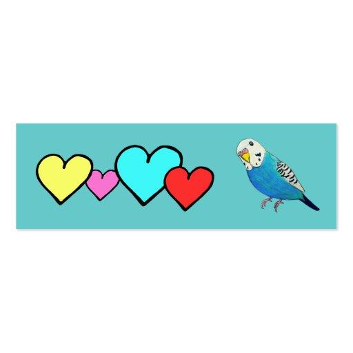 Dibujo del Parakeet con los corazones Tarjetas De Visita Mini