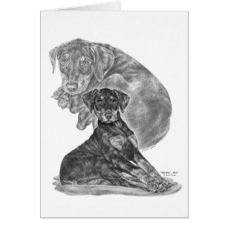 Dibujo del perrito del Pinscher del Doberman por e Tarjeta Pequeña