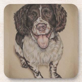 Dibujo del perro de aguas de saltador feliz y posavasos