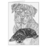 Dibujo del perro de Rottweiler por el cisne de Kel Tarjeton