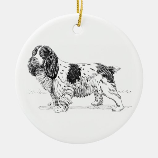 Dibujo del perro del perro de aguas de saltador adorno navideño redondo de cerámica