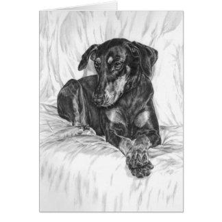 Dibujo del perro del Pinscher del Doberman por el  Tarjeta Pequeña