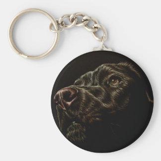 Dibujo del perro negro en llavero redondo