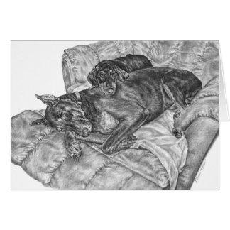 Dibujo del Pinscher y del perrito del Doberman por Tarjeta Pequeña